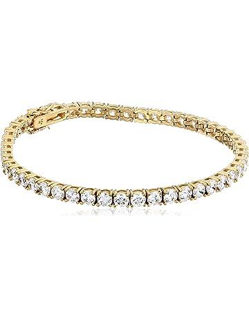 427f2812de0ba3 Platinum or Gold Plated Sterling Silver Round-Cut Tennis Bracelet made with  Swarovski Zirconia