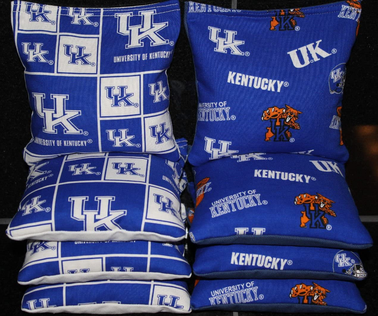 All Weather CORNHOLE BAGS made w UK University of KENTUCKY WILDCATS fabric RESIN