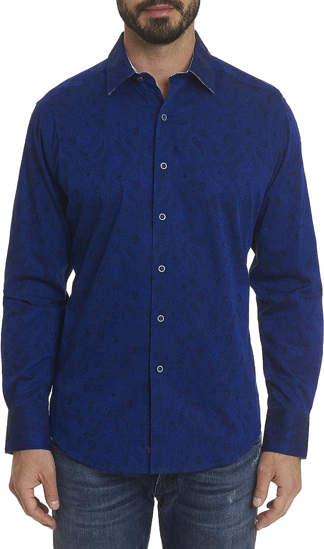 Robert Graham Hanging Gardens L/S Paisley Printed Woven Shirt Classic Fit Navy Large