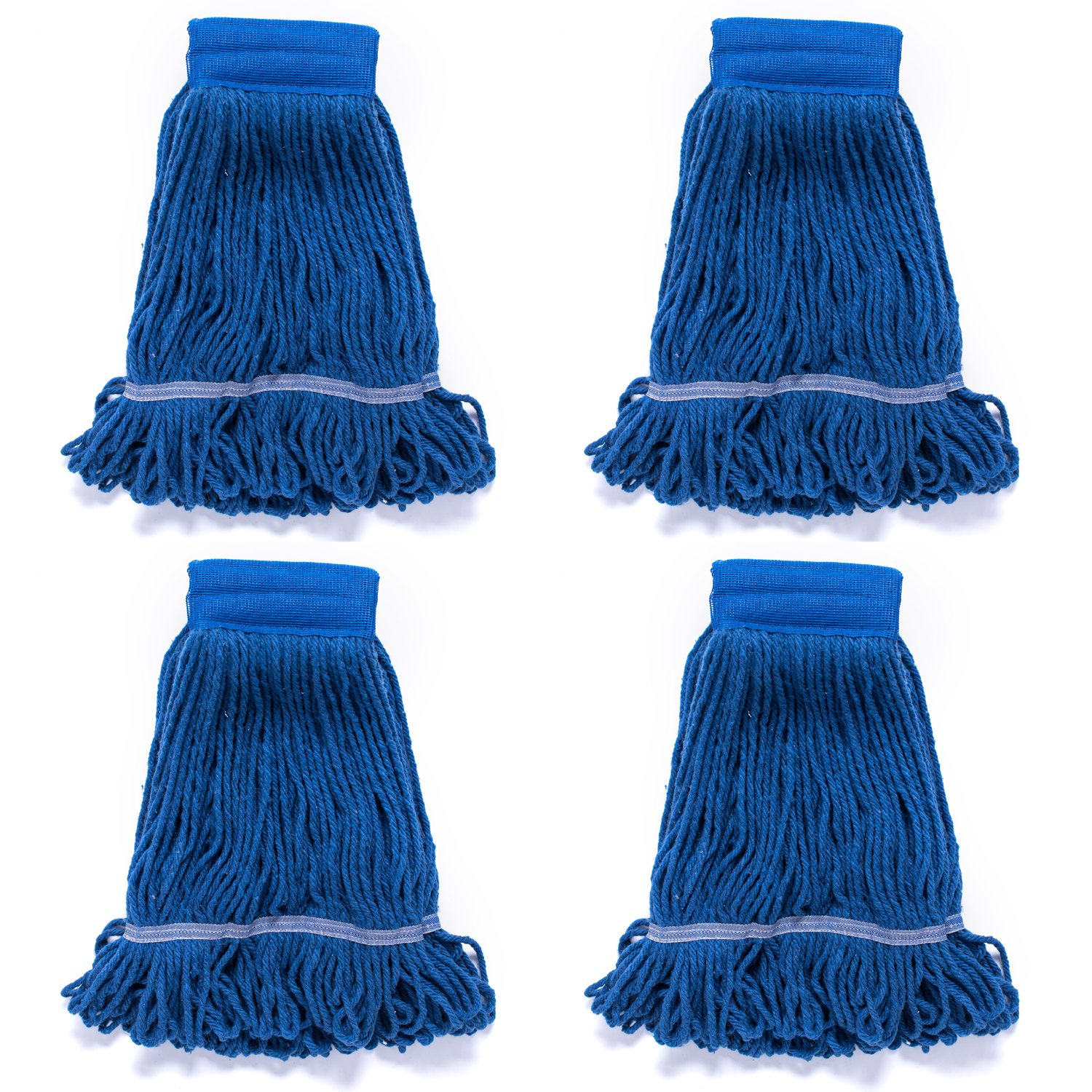 QIPENG 4 Pack 18'' Commercial Mop Heads Wet Saddle Mop Head Refill, Cotton/Synthetic, Large Size, for Home, Commercial, and Industrial Use, Blue