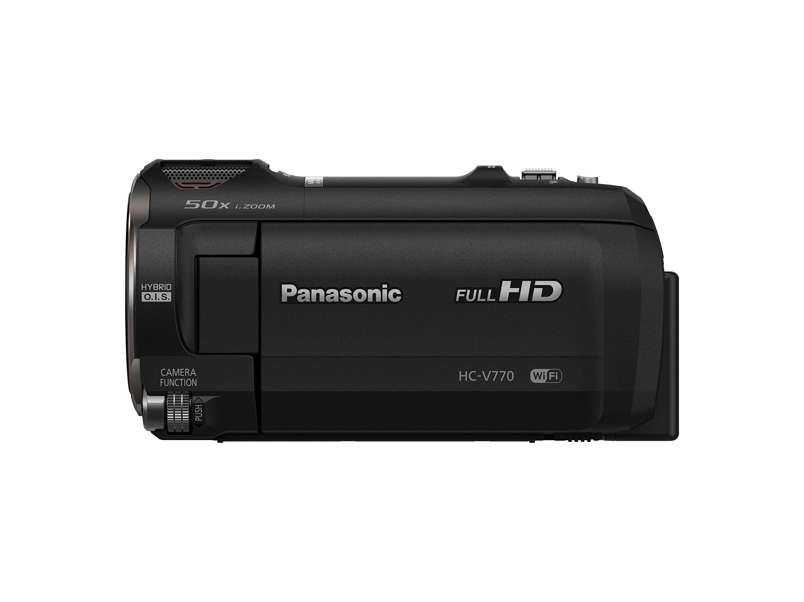 PANASONIC HC-V770 Full HD Camcorder,  20X Optical Zoom, 1/2.3'' BSI Sensor, 5-Axis Hybrid O.I.S., HDR Capture, WiFi  Smartphone Twin Video Capture (USA Black)