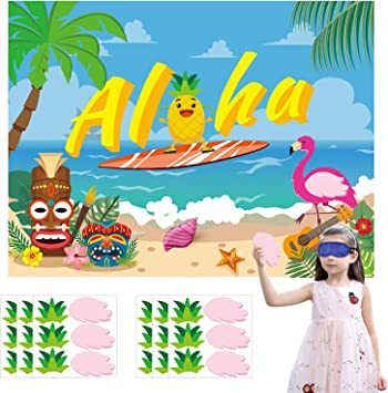 Summer Theme Party Game Activity for Kids Pin The Hair and Wing On Large Pineapple and Flamingo Poster Ticiaga 36pcs Aloha Hawaii Party Stickers Game Tropical Luau Theme Party Decoration Supplies