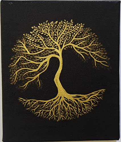 paintings skink tree of life handpainted canvas painting black