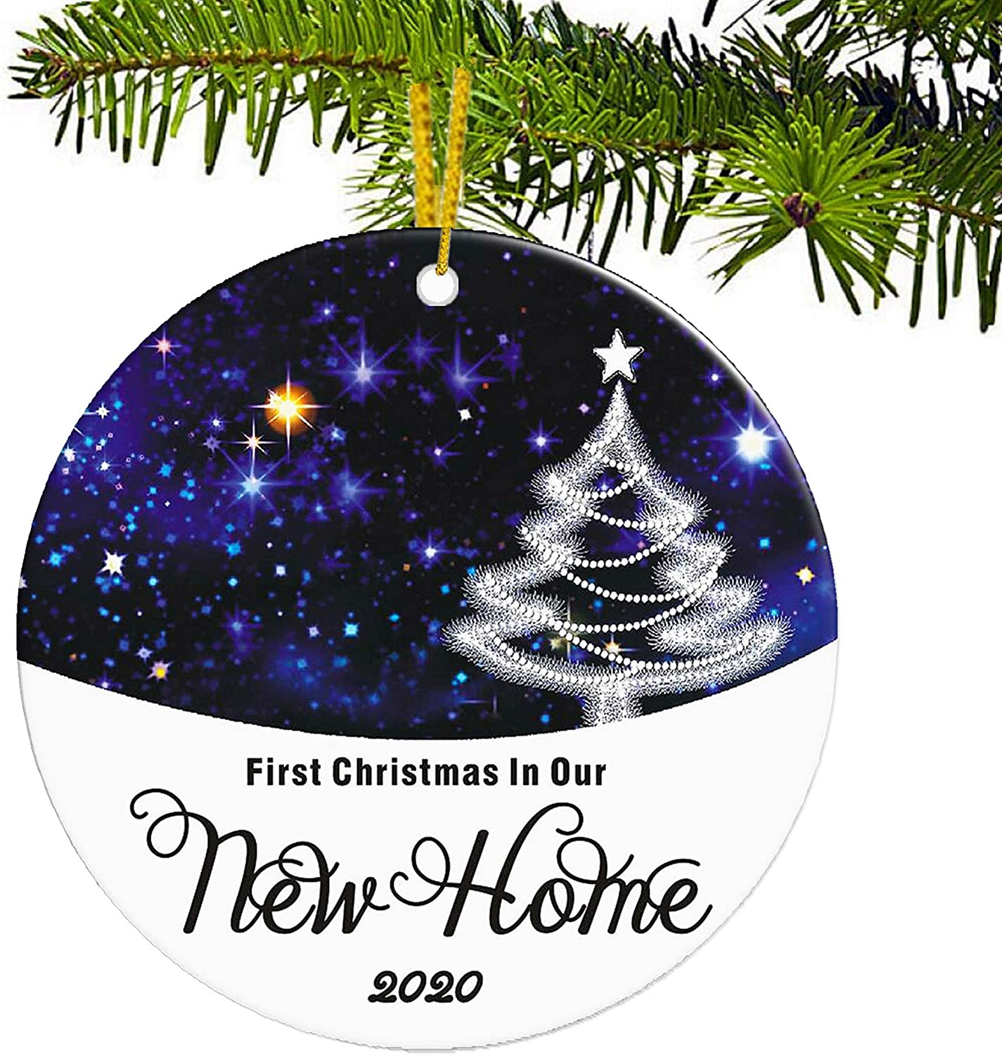 JUPPE First Christmas in Our New Home 2020 Ornament Blue Sky & Xmas Tree Decoration Mr & Mrs Newlywed Romantic Couples Gift (Blue-3)