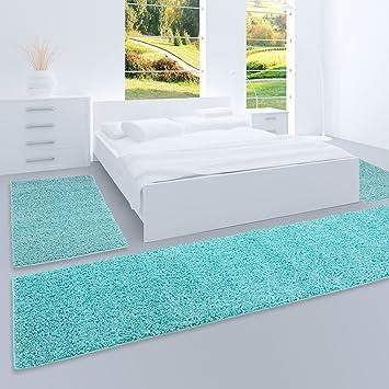 Carpet City Shaggy Bettumrandung Hochflor Teppiche In Türkis, Hell Blau,  Einfarbig Für
