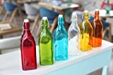 Set Of 2, Colorful Reusable Glass Water Bottles