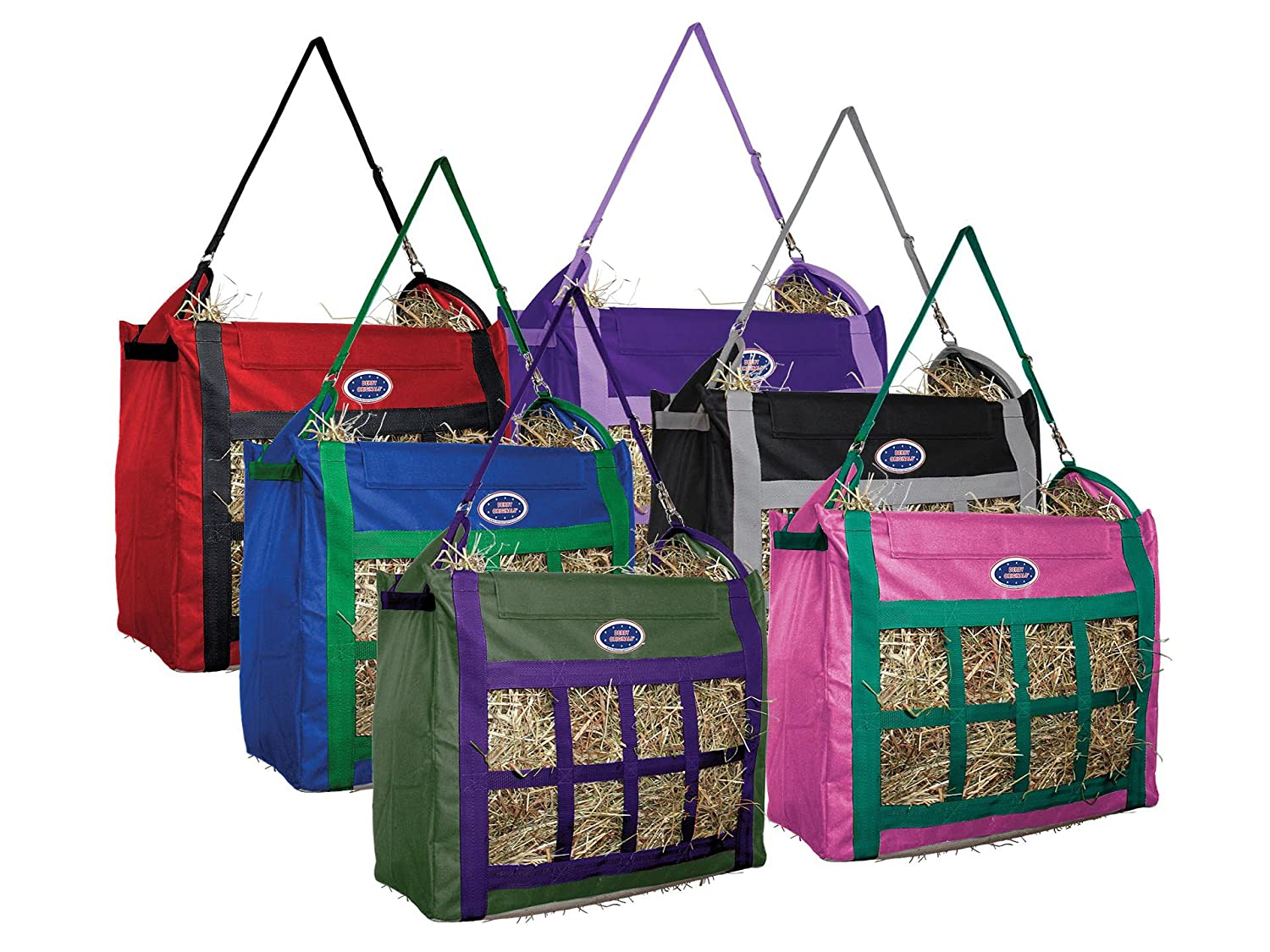 Red   Black Derby Originals Supreme Nylon Top Loading Slow Feed Hay Bags with Replaceable Adjustable Carry Strap