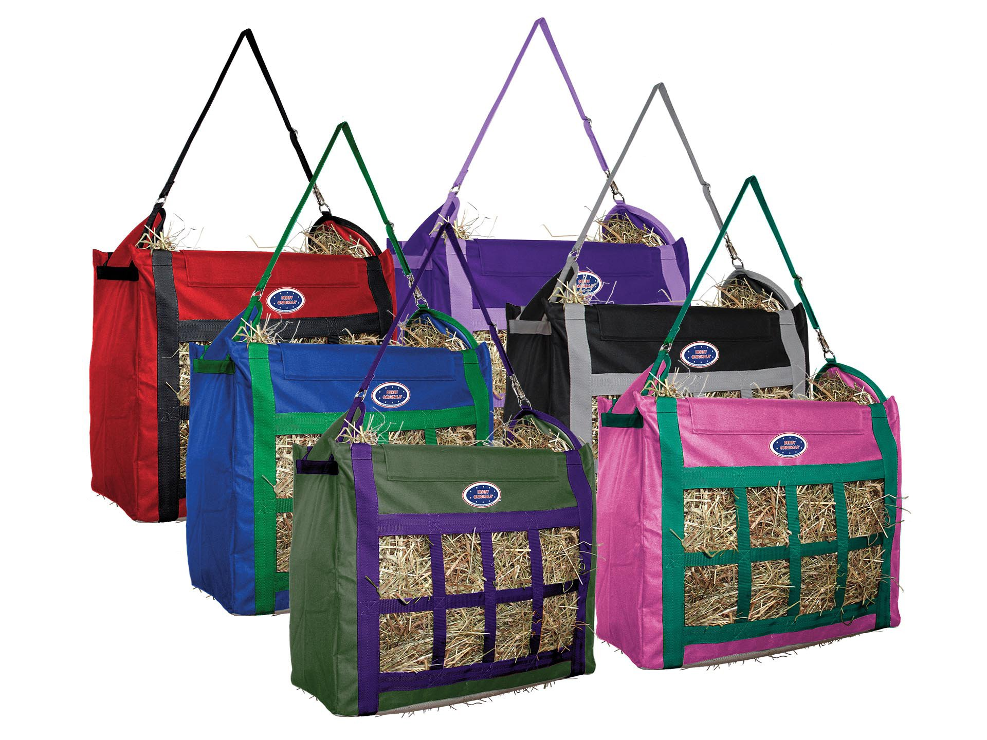 Derby Originals Supreme Nylon Top Loading Slow Feed Hay Bags with Replaceable Adjustable Carry Strap