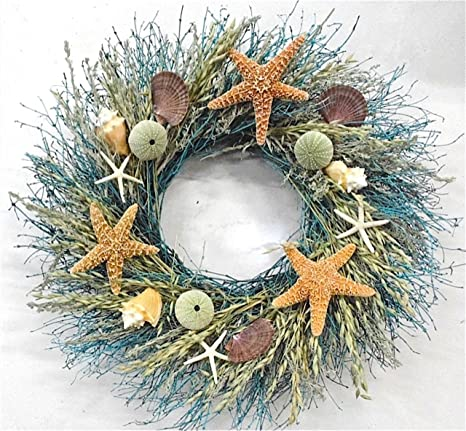 Nautical Christmas Wreath.Walk On The Beach Summer Door Wreath Sea Shells Starfish For Coastal Cottage Kitchen Decor Use Indoors Or Outdoors