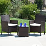 Belleze Wicker Furniture Outdoor Set | 3 Piece Patio Outdoor Rattan Patio Set | Two Chairs | One Glass Table | Brown