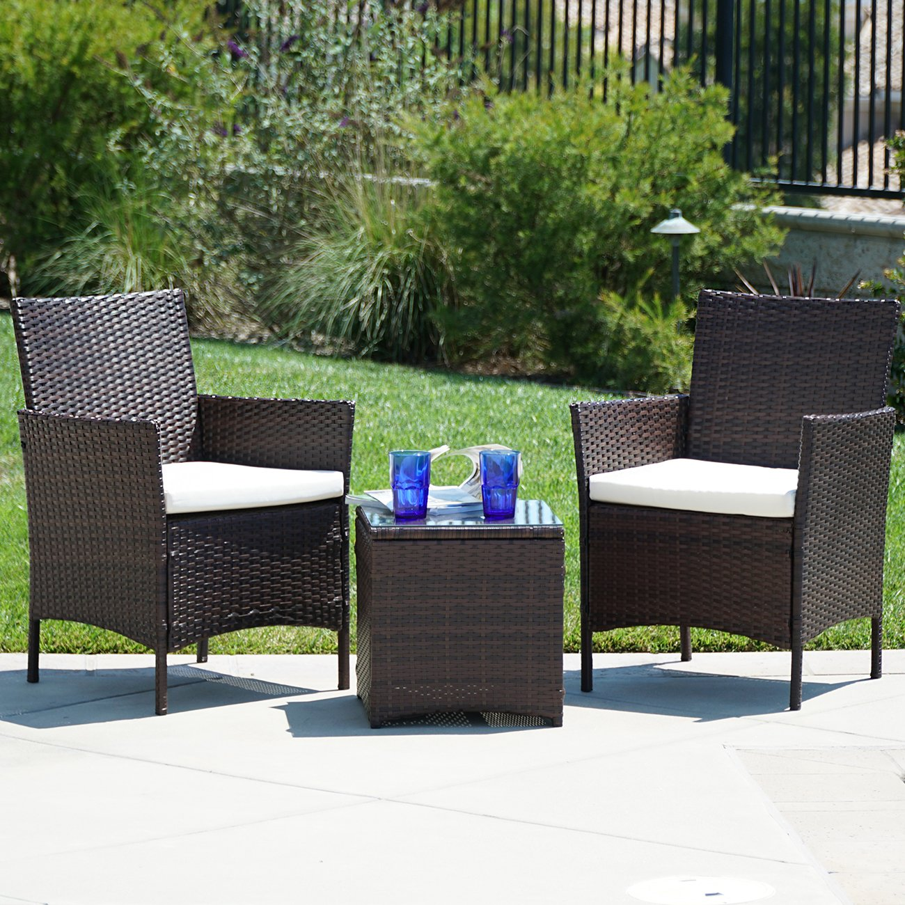 Amazon com belleze 3pc outdoor patio furniture wicker cushion seat coffee backyard yard high backrest bistro set glass top table chairs brown garden