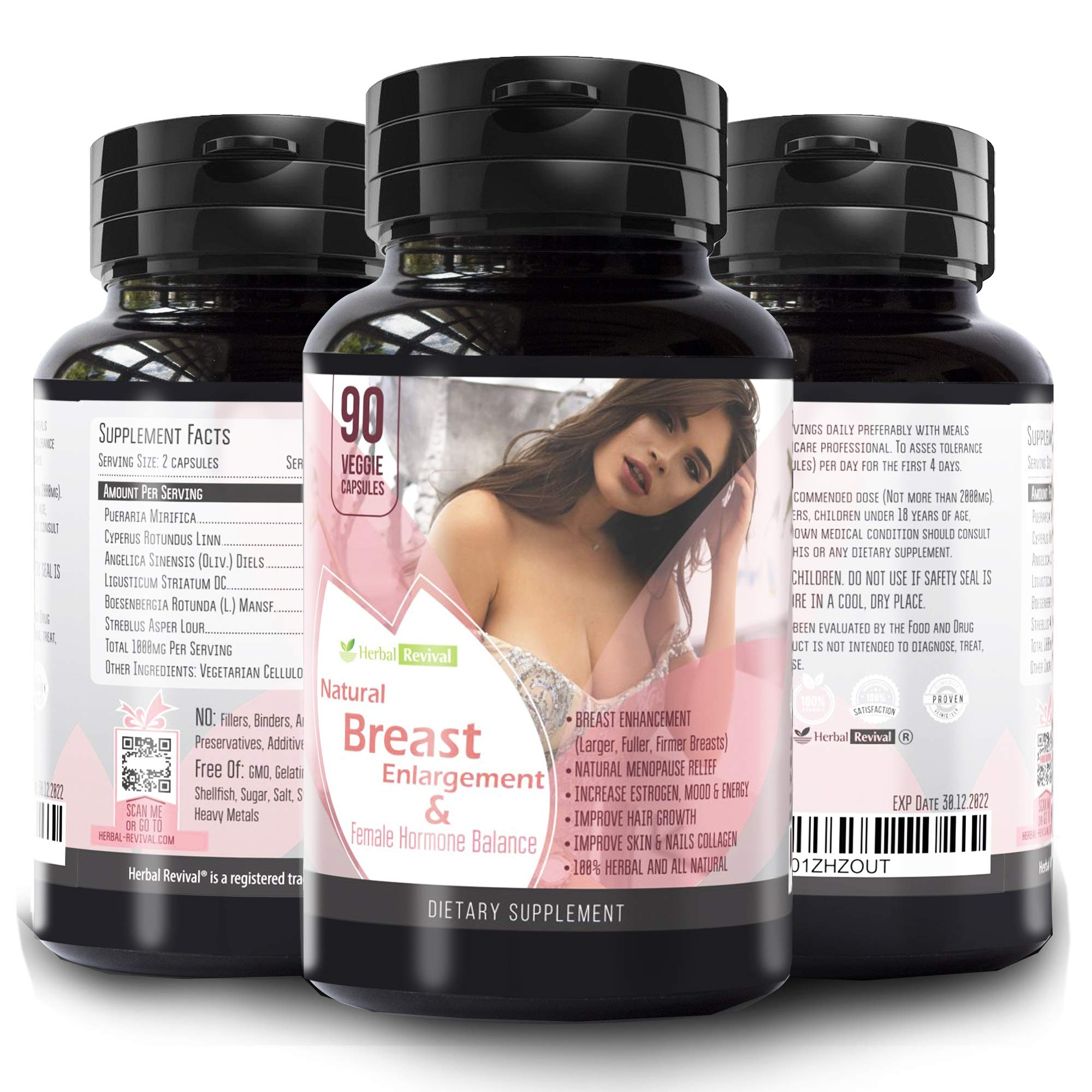 Pueraria Mirifica Natural Breast Enhancement - Breast Lift, Breast Growth, 90 Size Enhancement and Breast Enhancer Pills - Menopause Relief, Vaginal Health, Boosts Hair Growth Daily Multivitamin