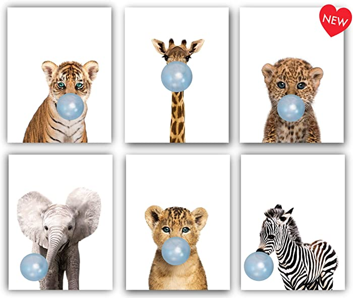 Designs by Maria Inc. Safari Blue Bubblegum Baby Animals Nursery Decor Art - Set of 6 (UNFRAMED) Wall Prints 8x10 (Blue)