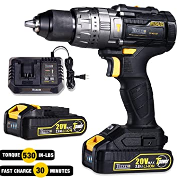 "Brushless Drill Driver, Cordless Impact Drill with 2pcs 2.0Ah Batteries, 30minsFast Charger, 530 In-lbs, 1/2"" Chuck, 21+3 Torque Setting, 2 Speeds, LED Light, 29pcs Accessories"