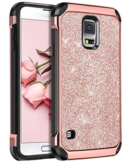 brand new 1fd68 c0e85 BENTOBEN Galaxy S5 Case, Glitter Bling Luxury 2 in 1 Hybrid Super Slim Hard  Laminated with Sparkly Shiny Faux Leather Chrome Shockproof Protective ...