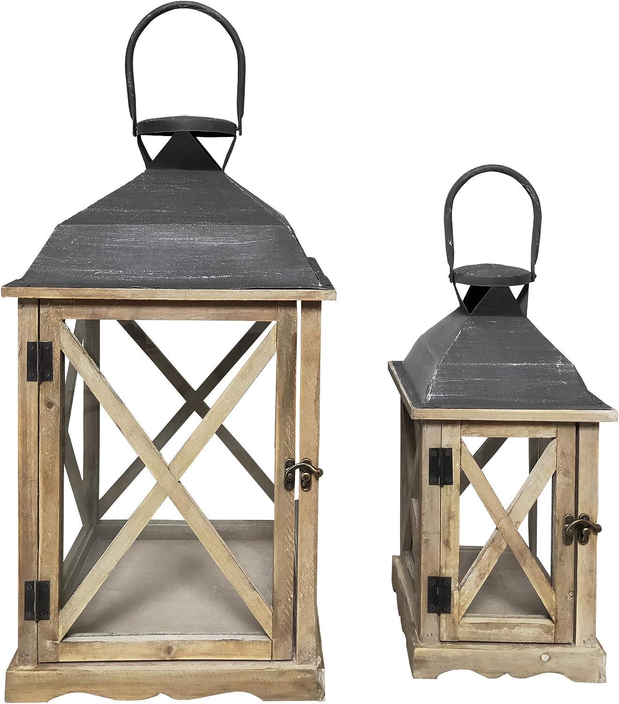 RE6216 H x W x D Rebecca Mobili Set 2 Garden Lanterns Wood Candle Holder Metal Glass Light Brown Gray Outdoor Indoor 52 x 28 x 28 cm - Art