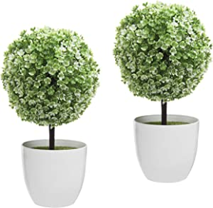 MyGift 10 inch Artificial Faux Tabletop Topiary Trees with White Planter Pots, Set of 2
