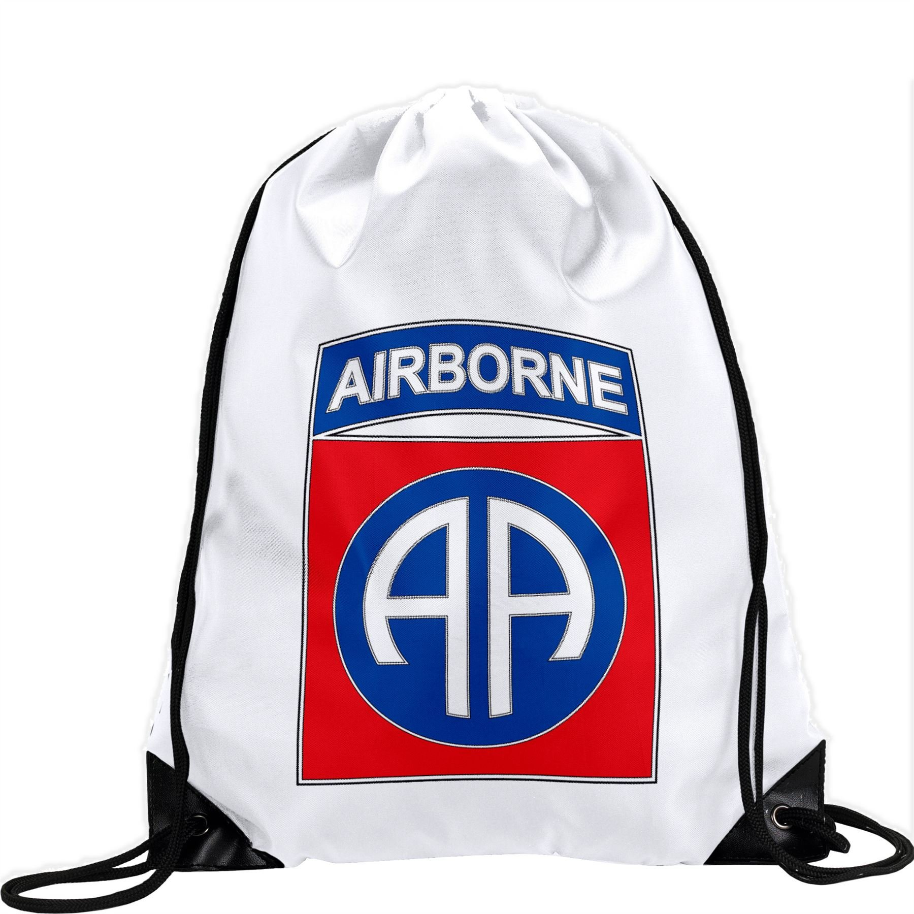 Large Drawstring Bag with US Army 82nd Airborne Division, combat service ID badge - Long lasting vibrant image