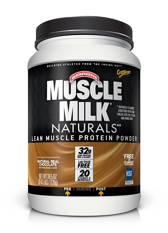 Muscle Milk Genuine Protein Powder, Natural Real Chocolate, 32g Protein, 2.47 Pound