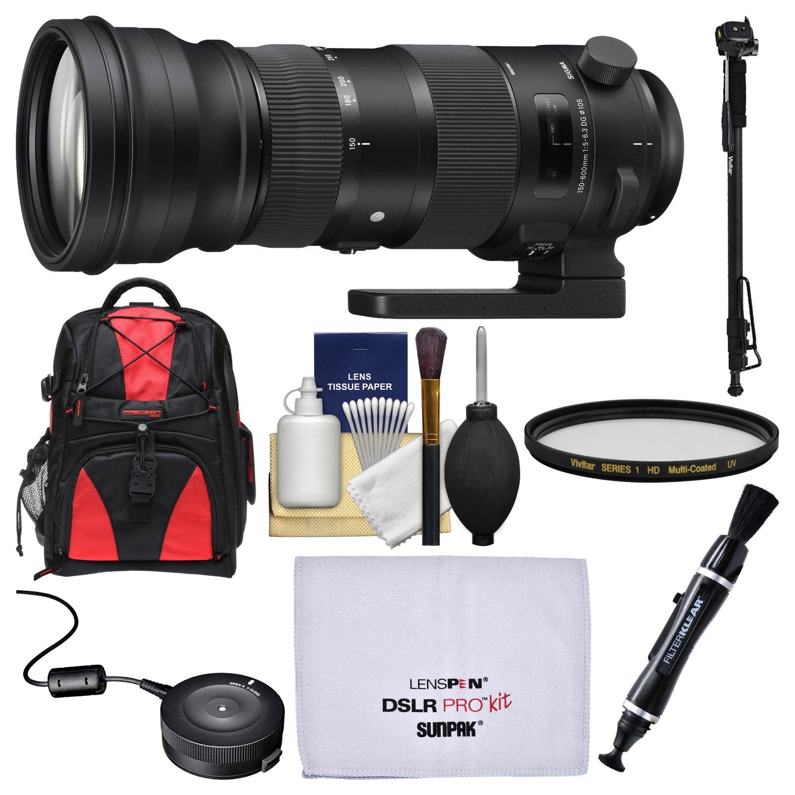 Sigma 150-600mm f/5.0-6.3 Sports DG OS HSM Zoom Lens with USB Dock + Backpack + UV Filter + Monopod Kit for Nikon Digital SLR Cameras