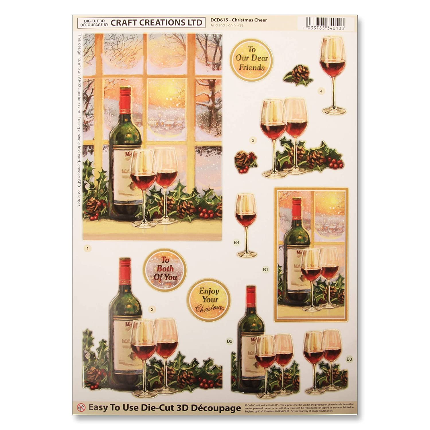 Craft Creations Christmas Die-Cut 3D Decoupage - DCD615 Christmas Cheer - Snow Window Wine - A4 210x297mm - Step-By-Step Layout Craft Creations Ltd