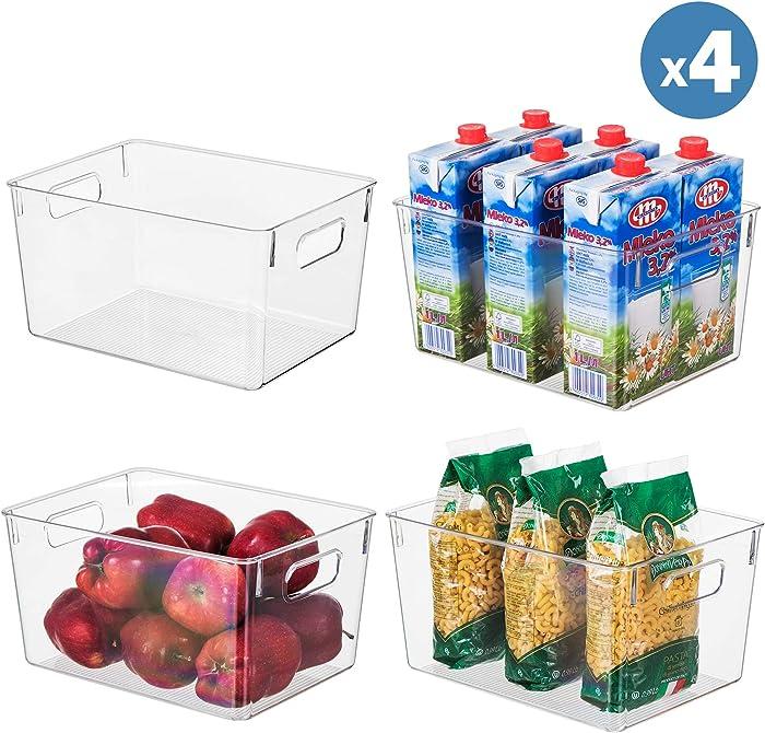 "Clear Plastic Storage Organizer Container Bins with Cutout Handles, Transparent Set of 4 | BPA Free, Kitchen Cabinet Storage Bins, 11"" x 8"" x 6"" Each"