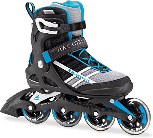 Rollerblade Macroblade 84 Women s Adult Fitness Inline Skate, White and Cyan Blue, Performance Inline Skates