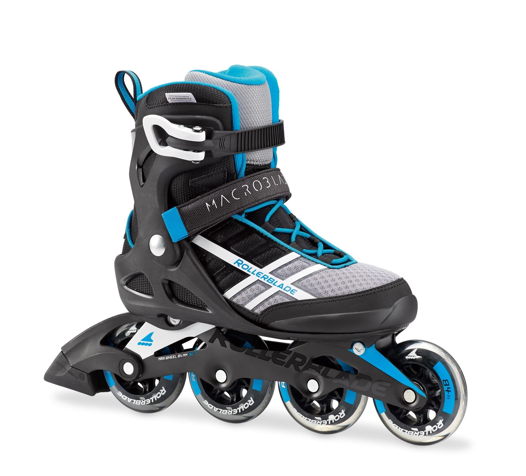 Rollerblade Macroblade 84 Womens Adult Fitness Inline Skate - White/Cyan Blue - 84 mm / 84A Wheels with SG7 Bearings - Performance Skates -US size 9, White/Cyan Blue, Size 9