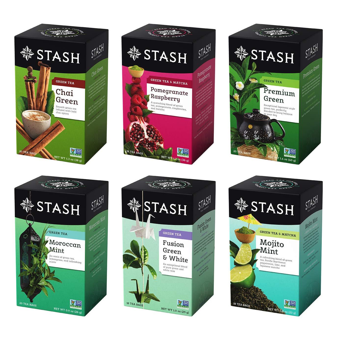 Stash Tea Green Tea Six Flavor Assortment,18-20 Count Tea Bags in Foil (Pack of 6)