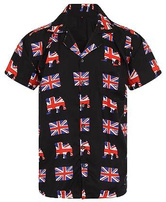 ef50f009 OE Menswear Hawaiian Shirt Union Jack Shirt Mens Football Great Britain  England Loud Aloha Bulldog Queen Flag Hawaii Beer London Stag Party UK BBQ  S M L XL ...