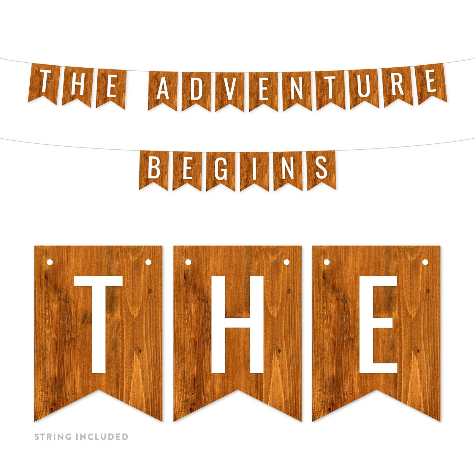 Andaz Press Rustic Barn Wood Funny Retirement Party Banner Decorations, The Adventure Begins, Approx 5-Feet, 1-Set, Birthday Wedding Baby Shower Colored Themed Hanging Pennant Decor