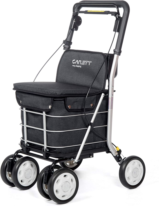 Carlett Lett 800 Carro de la Compra Andador, Aluminio, Negro, 92