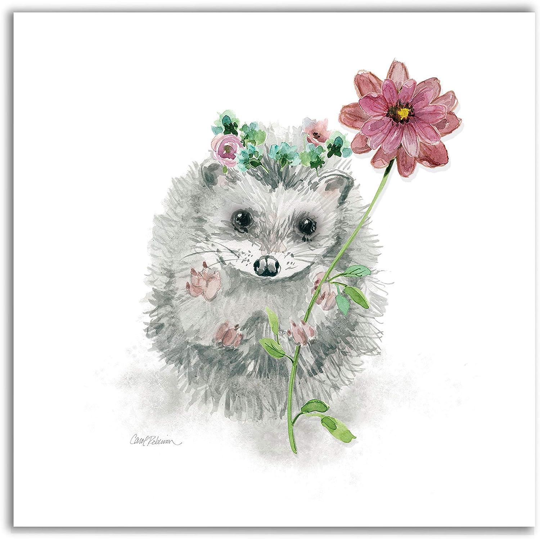 Renditions Gallery Garden Critter Hedgehog Animal Decor for Nursery, Kid Room, Playroom, Wall Art, 16X16