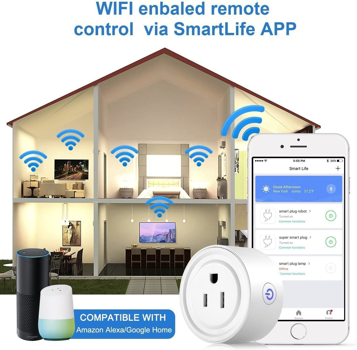 Remote Control Outlet with Timing Function HomePro Smart Plug Wi-Fi Enabled Mini Smart Socket Compatible with  Alexa Google Home
