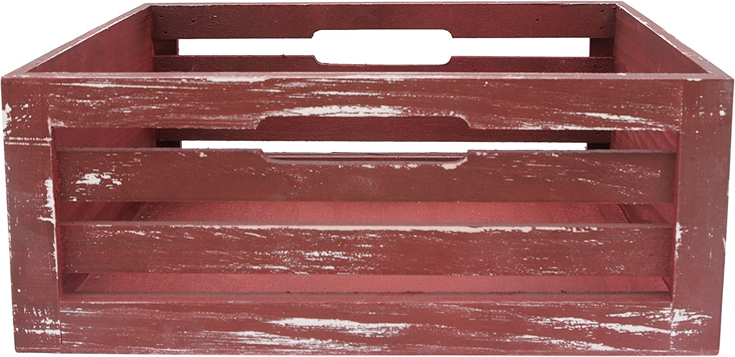 Wald Imports Red Wood Decorative Storage Crate