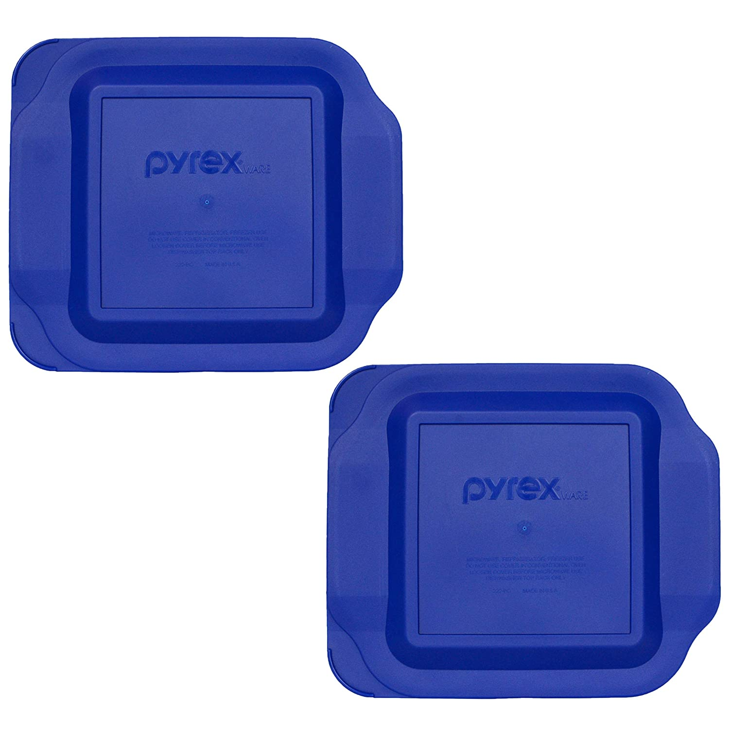"(2) Pyrex 222-PC 2 Quart Dark Blue 8"" x 8"" Baking Dish Lids - Will NOT Fit Easy Grab Baking Dish"