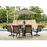 Durango 7 Piece Patio Dining Set, Includes 4 Stationary Chairs, 2 Swivel Chairs and a Rectangular Dining Table (umbrella sold separately)