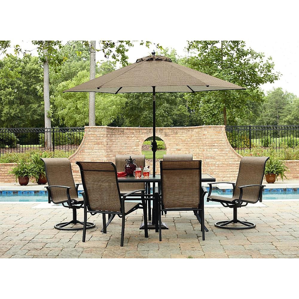 cedar patio furniture set with hanover piece pd shop metal monaco outdoor tan frame dining sling