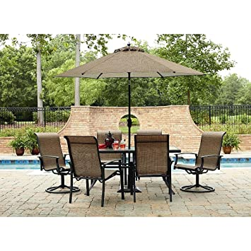 Durango 7 Piece Patio Dining Set Includes 4 Stationary Chairs 2 Swivel And