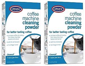 Urnex Coffee Maker and Espresso Machine Cleaner Cleancaf Powder - 2 Pack (6 Packets) - Safe on Keurig Delonghi Nespresso Ninja Hamilton Beach Mr Coffee Braun