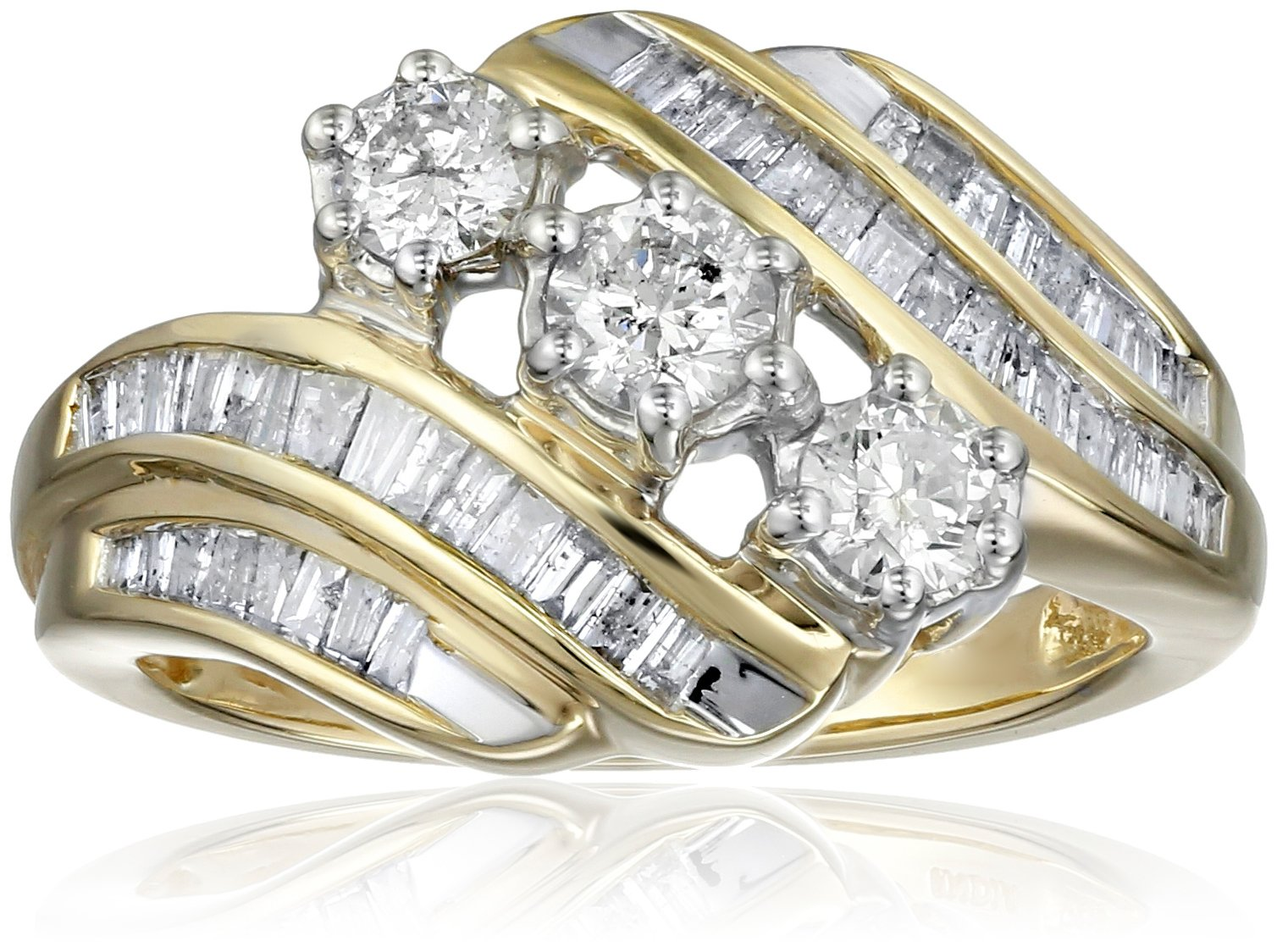 10K Yellow Gold Diamond 3 Stone Ring (1 cttw), Size 6