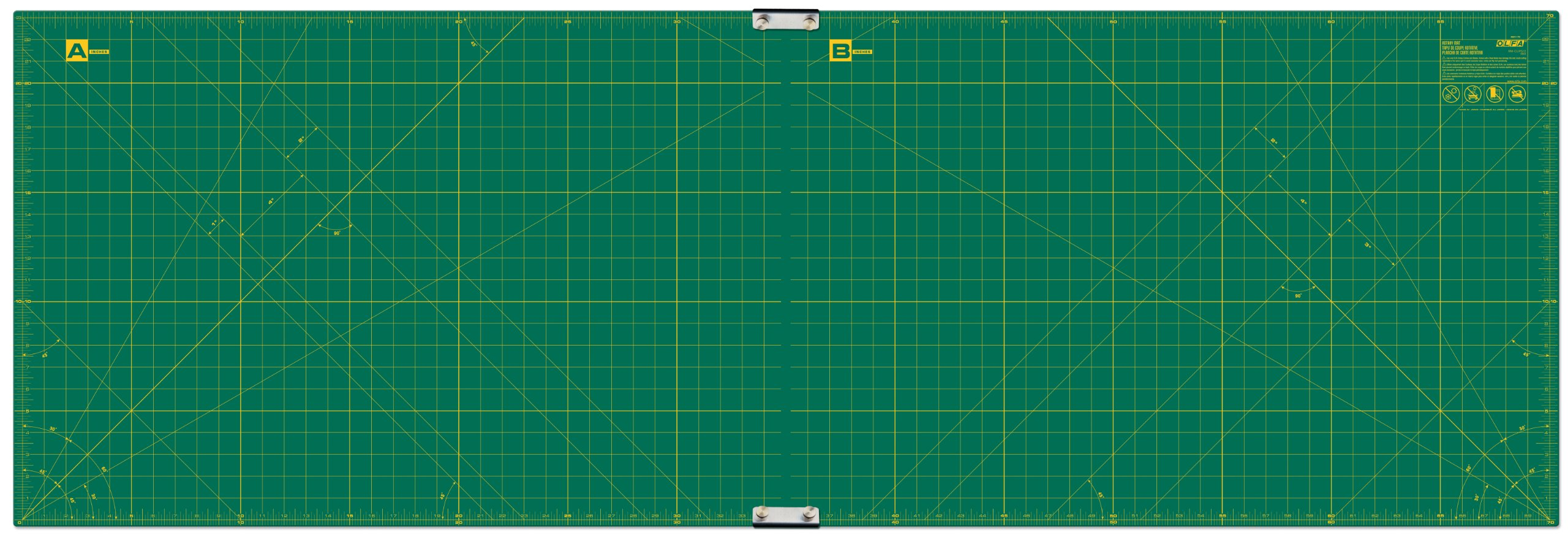 Olfa 23-Inch-by-70-Inch Gridded Cutting Mat Set Clipped by OLFA