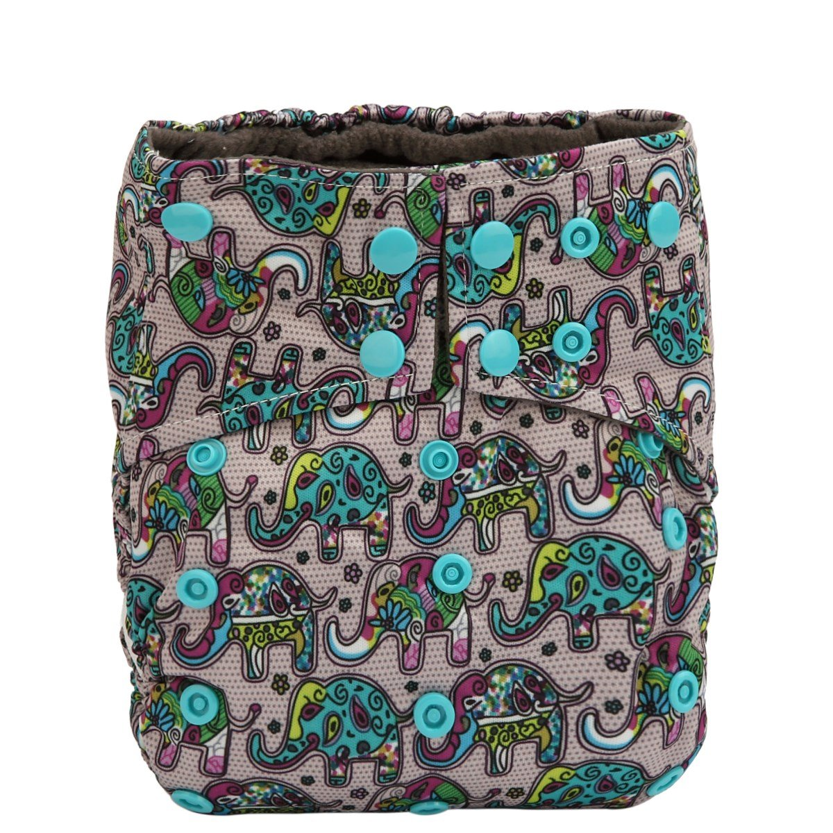 Sigzagor AIll in One Night AIO Cloth Diaper Nappy Sewn in Charcoal Bamboo Insert Reusable Washable Pink Unicorn