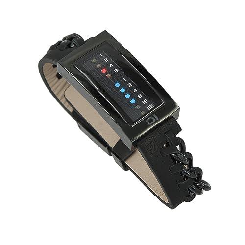 The One–irm202rb1–Magnet–Armbanduhr–Quarz Binär–Zifferblatt schwarz Armband Leder schwarz