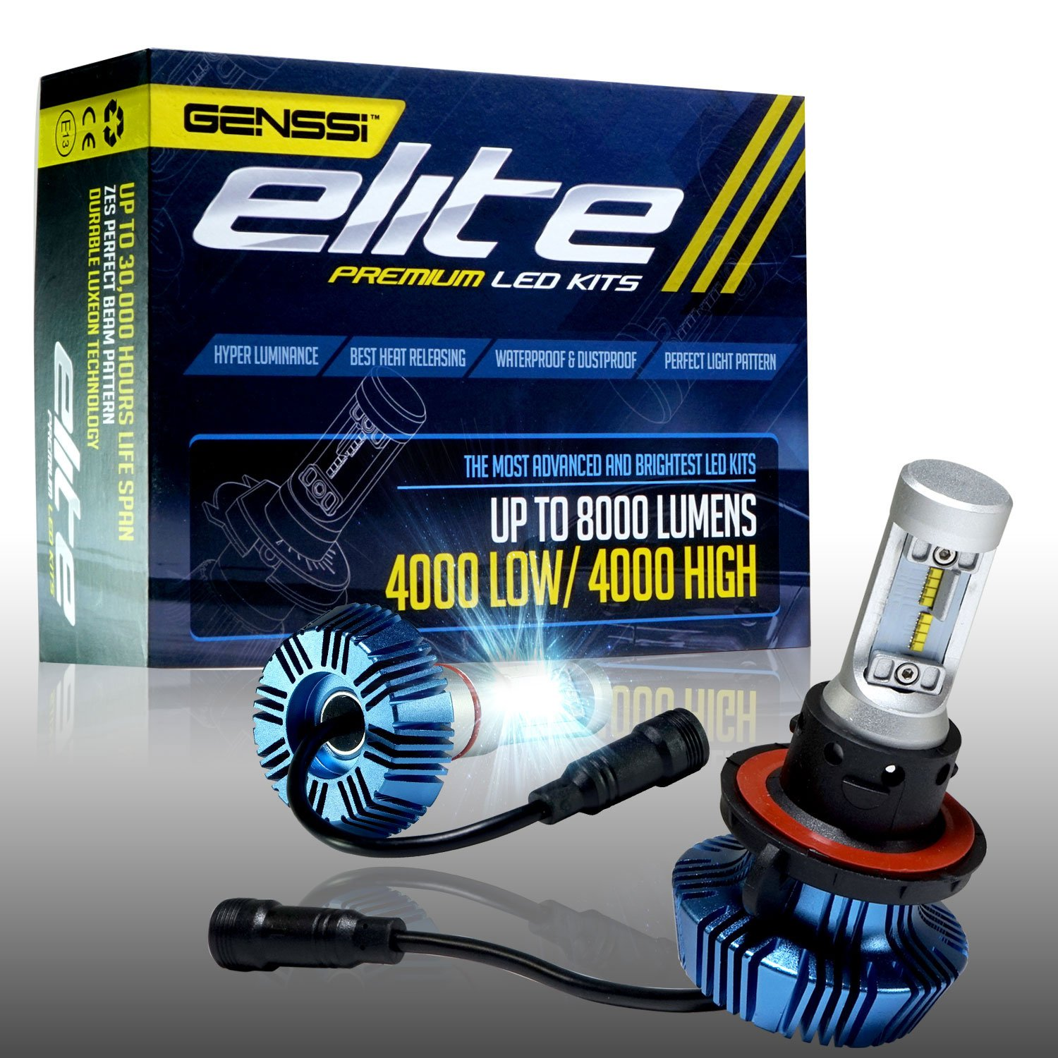 Genssi Elite Led Headlight Bulbs Kit 6000k Super White H11 Halogen Wiring Harness Conversion H13 9008 Automotive