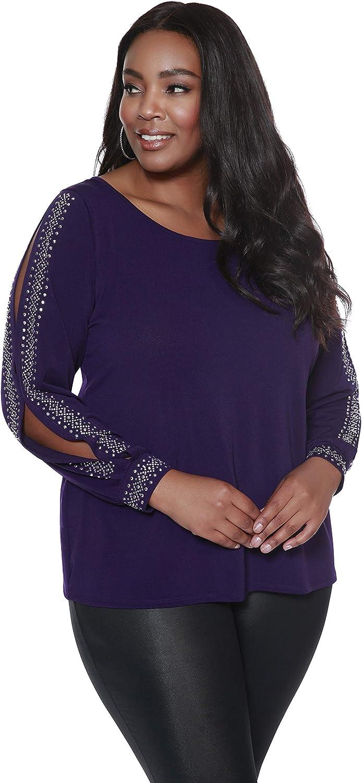B07XZNMWD9 Belldini Women\'s Fashion, Plus Size, Peekaboo Long Sleeve Top with Embellishments Down The Sleeves 8106gdv%2B%2BAL