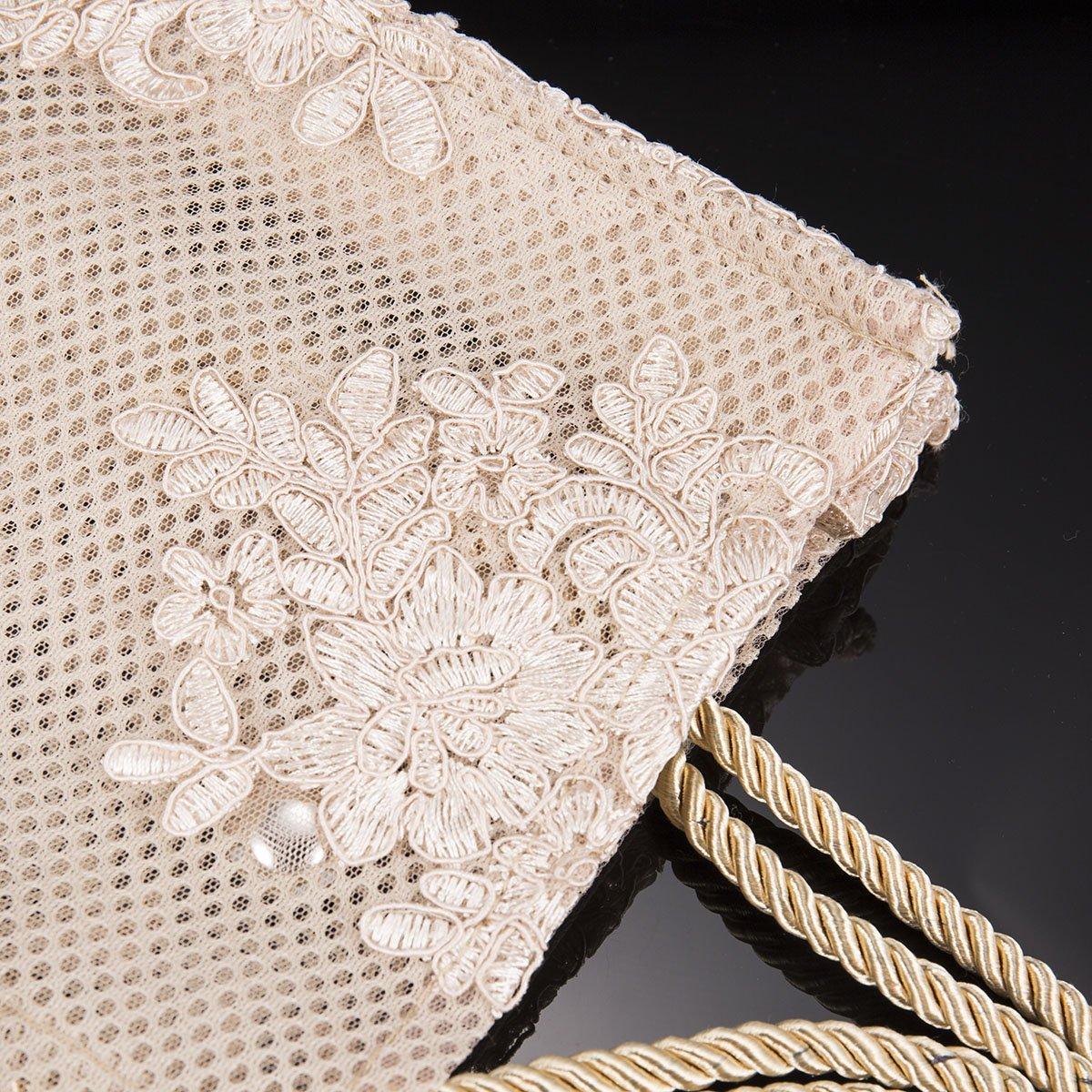 Bolso - Bolsos de hombro de encaje bordado de Champagne para mujeres Bolsos de hombre ligero elegante de ManChDa - Tallas pequeñas: Amazon.es: Equipaje