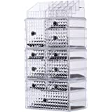 """Cq acrylic Large 7 Tier Clear Acrylic Cosmetic Makeup Storage Cube Organizer with 10 Drawers. It Consists of 4 Separate Organizers, Each of Which Can be Used Individually-9.8""""x6.7""""x20.8"""""""