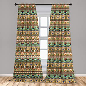Ambesonne Egyptian Print Curtains, Motifs Pattern Lily Flower and Scarab Abstract Design, Window Treatments 2 Panel Set for Living Room Bedroom Decor, 56