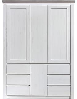 Trendteam NBZ61357 Kleiderschrank Baybzimmerschrank Weiß Pinie Nachbildung,  Absetzungen Pinie Dunkel Struktur, BxHxT 145x197x56 Cm